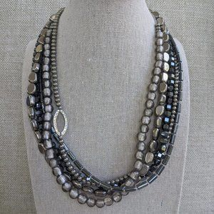 Silpada Sterling Silver Hematite 5 Strand Necklace